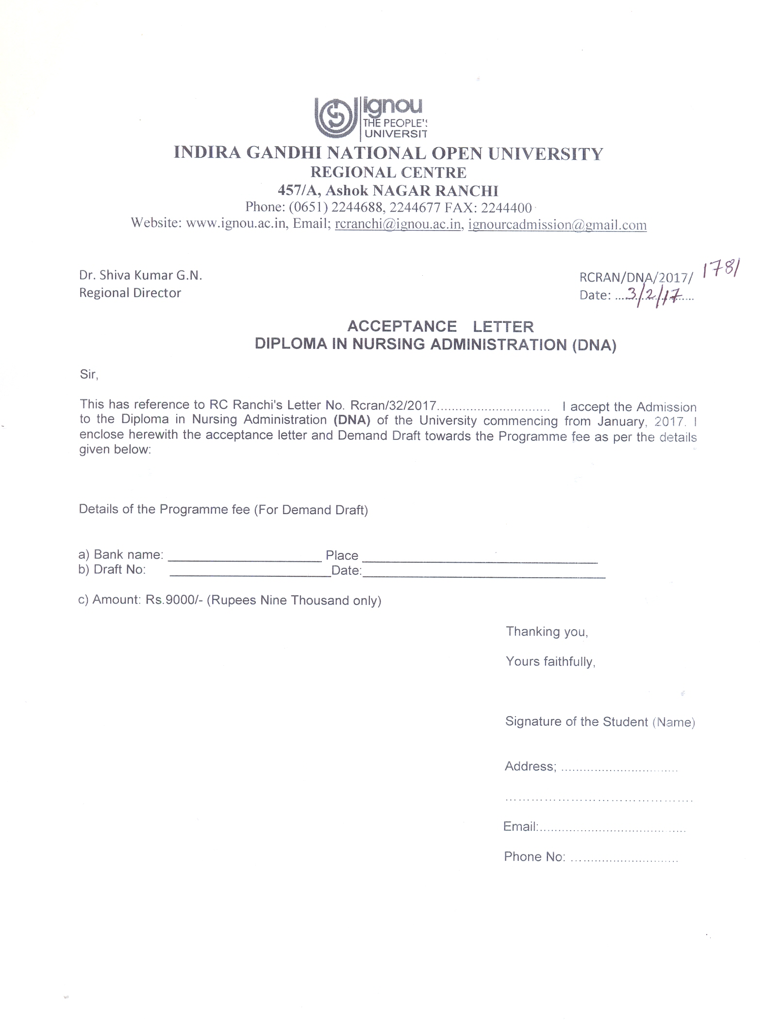 ignou rc ranchi announcements latest offer letter acceptance offer letter middot acceptance letter