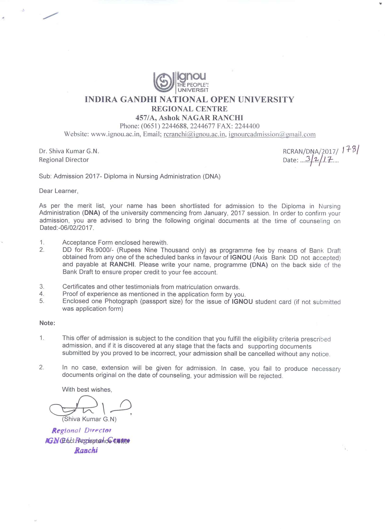 IGNOURCRanchi Announcements Latest Offer Letter Acceptance – Offer Letter